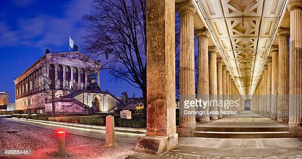Altes Museum in foreground, National Gallery in the background, Museum Island, berlin, Germany.