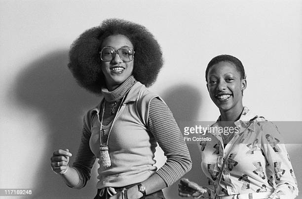 Althea Donna Jamaican reggae duo pose for a studio portrait against a white background in London England Great Britain 1978
