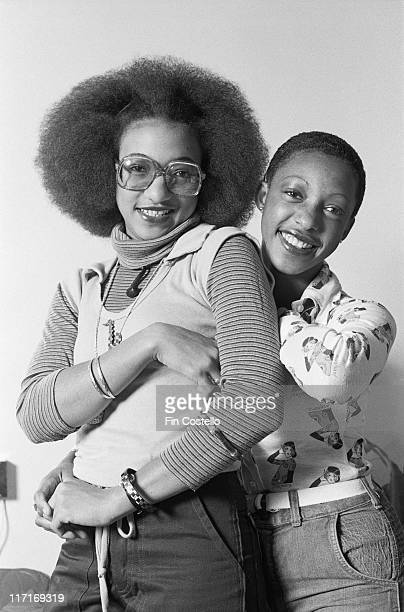 Althea Donna Jamaican reggae duo posing for a studio portrait against a white background in London England Great Britain 1978