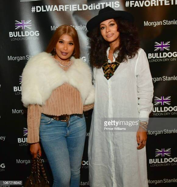 Althea Heart and Keri Hilson attends a DL Warfield Art Show at Westside Cultural Art Center on November 30 2018 in Atlanta Georgia