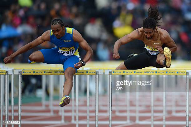 US althete Aries Merritt and US althete Jason Richardson compete in the men's 110m hurdles round 1 heat 2 at the 2012 Diamond League athletics meet...