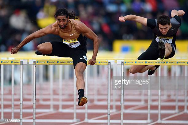 US althete Jason Richardson and Britain's Andrew Pozzi compete in the men's 110m hurdles round 1 heat 2 at the 2012 Diamond League athletics meet at...