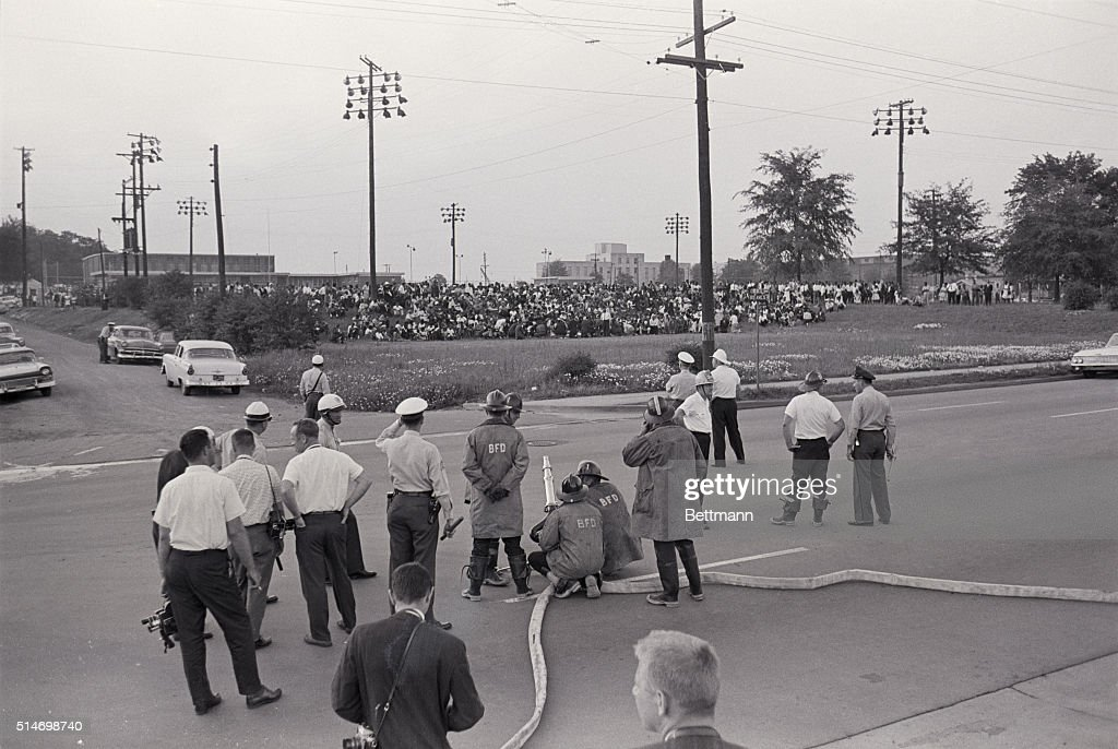 Although a group of 2000 African American protesters have been given permission to hold a civil & Firemen Aim Hoses at Civil Rights Protest Pictures | Getty Images