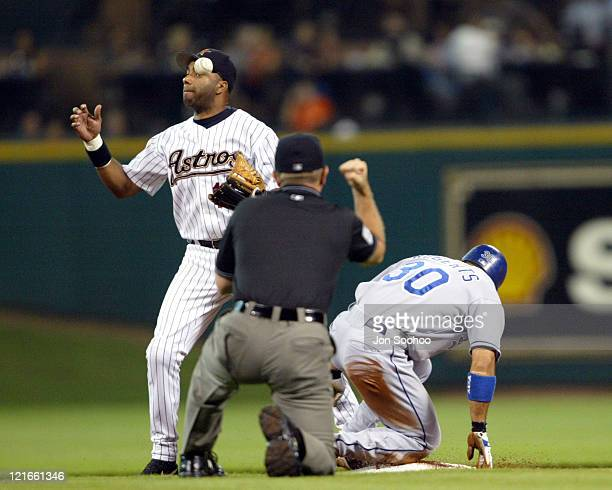 Although Astros Jose Vizcaino bobbles ball Dodgers Dave Roberts is called out at second