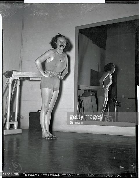 Although Eleanor Holm Jarrett never exercises in the prescribed manner she has devised a routine for the girls of the Aquabelle Troupe that she will...