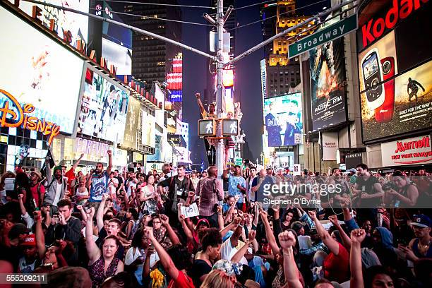 Although it was 90 degrees out thousands of people took to the streets in NYC to protest the not guilty verdict of George Zimmerman Protesters shut...
