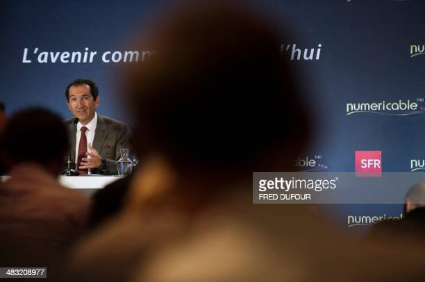 Altice group's Chairman Patrick Drahi gives a press conference on April 7 2014 in Paris Vivendi decided on two days before to accept the offer from...