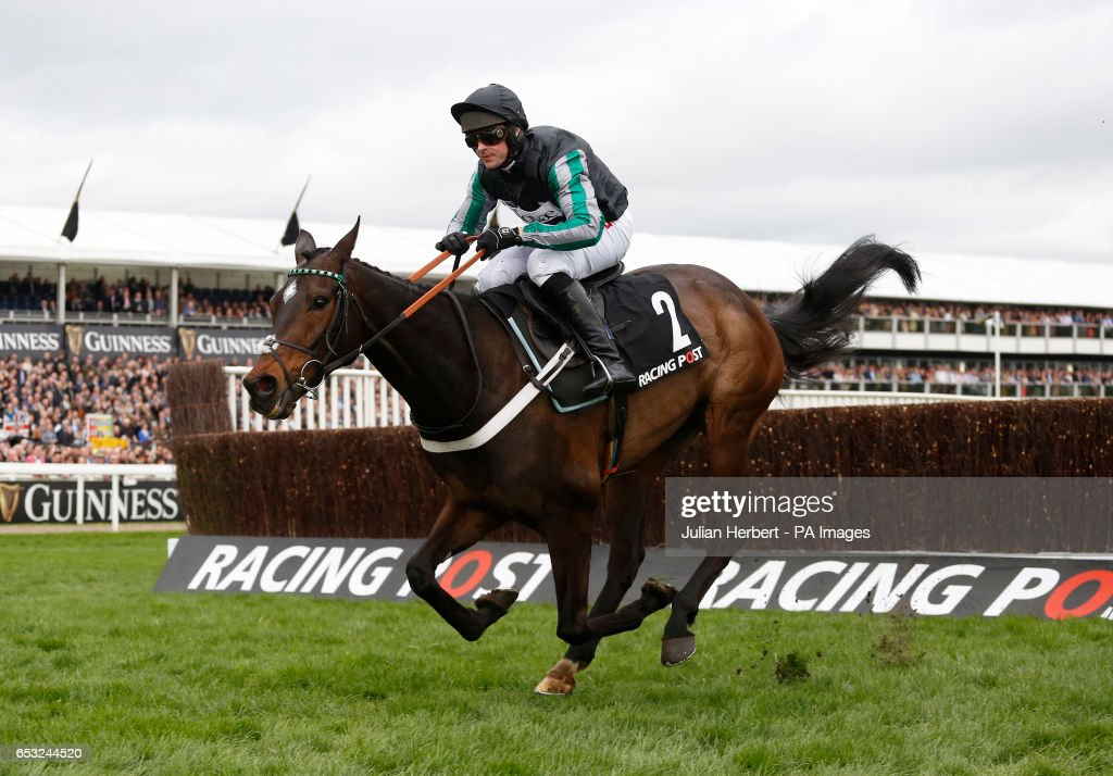 Altior ridden by Nico de Boinville pulls away from the last fence before going on to win The Racing Post Arkle Challenge Trophy Novices' Steeple Chase Race run during Champion Day of the 2017 Cheltenham Festival at Cheltenham Racecourse.