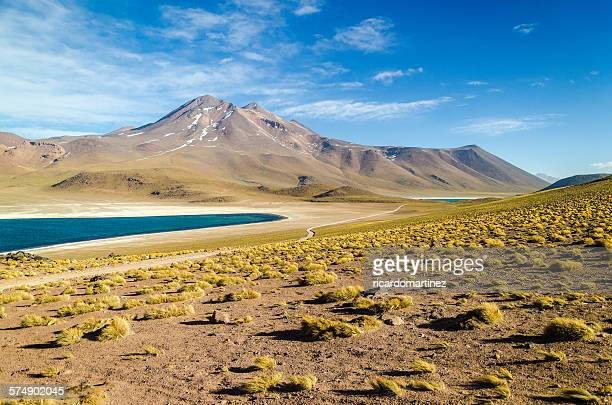 Altiplano lagoon, volcano and Andean peaks, Chile