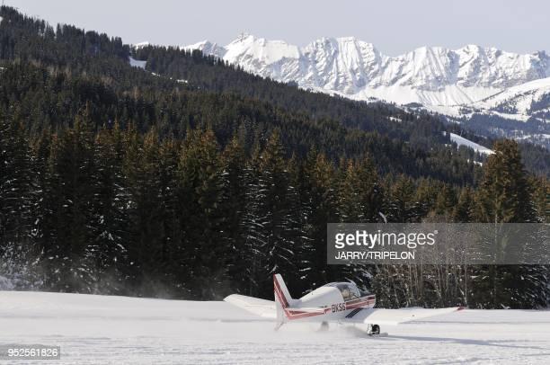 L'altiport de la station de ski et village de Megeve Pays du MontBlanc et du Val d Arly HauteSavoie France