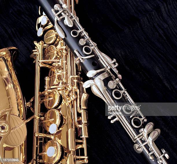 alto sax and clarinet closeup - brass stock pictures, royalty-free photos & images