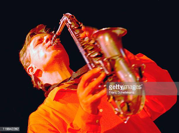 Alto sax player Paul Termos performs live on stage at the BIMhuis in Amsterdam, Netherlands on 11th April 1997.