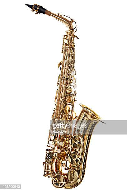 Alto saxophone, brightly lit, is isolated on white