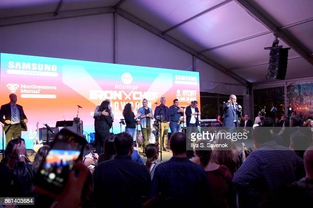 Alton Brown introduces the evening's judges at the Food Network Cooking Channel New York City Wine Food Festival presented by CocaCola Rooftop Iron...