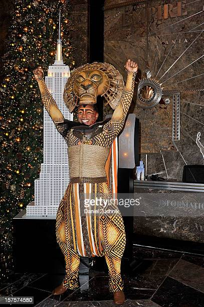 Alton Fitzgerald White attends the lighting ceremony honoring the 15th anniversary of Broadway's 'The Lion King' at the Empire State Building on...