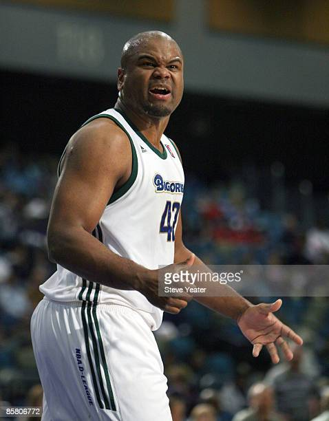 Alton Ford of the Reno Bighorns has a difference of opinion with an official during a DLeague game against the Erie Bayhawks at the Reno Events...