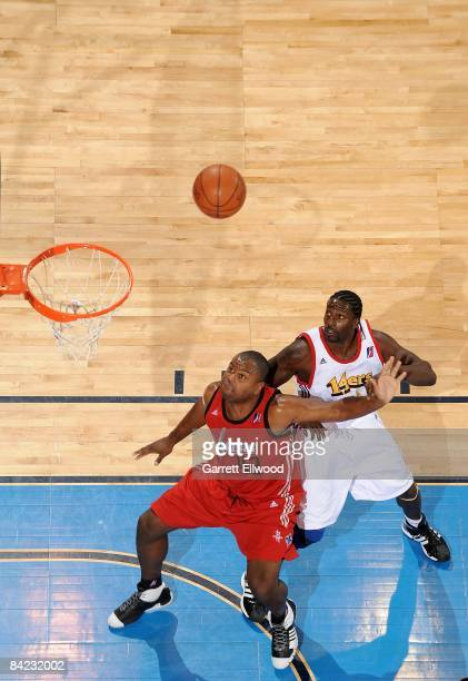Alton Ford of the Rio Grande Valley Vipers prepares to rebound against Jamar Brown of the Colorado 14ers during the game on December 16 2008 at the...