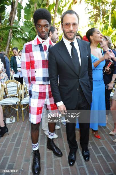 Alton Mason and Tom Ford attend CFDA/Vogue Fashion Fund Show and Tea at Chateau Marmont at Chateau Marmont on October 25 2017 in Los Angeles...