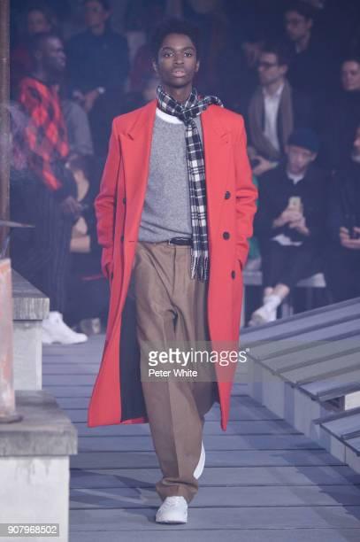 Alton Mason walks the runway during the Ami Alexandre Mattiussi Menswear Fall/Winter 20182019 show as part of Paris Fashion Week on January 18 2018...