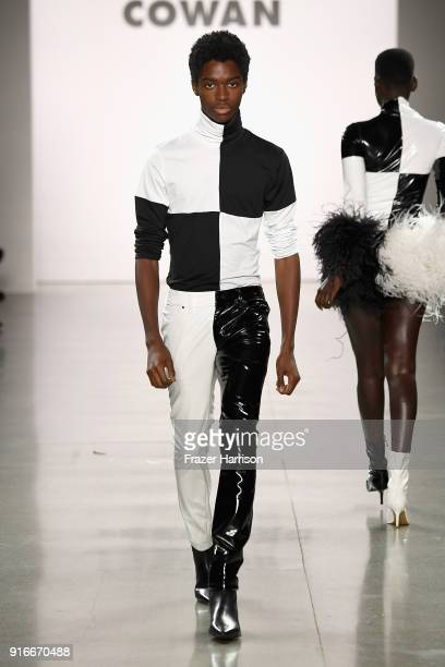 Alton Mason walks the runway for Christian Cowan during New York Fashion Week The Shows at at Gallery II at Spring Studios on February 10 2018 in New...