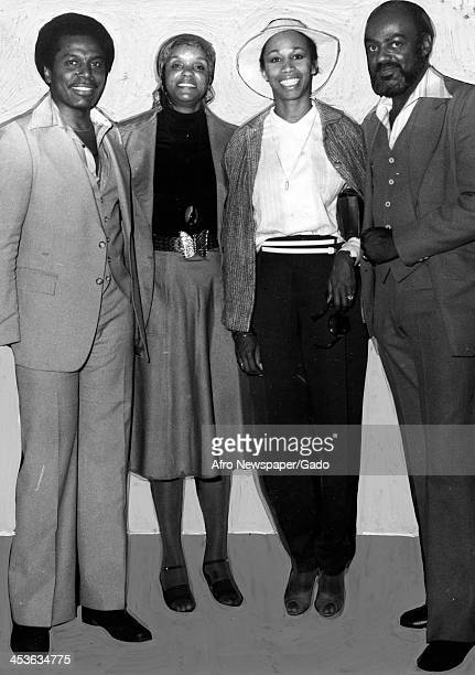 Altovise Gore wife of African American entertainer Sammy Davis Junior stands with two members of the Black Woman's Consciousness Raising Association...
