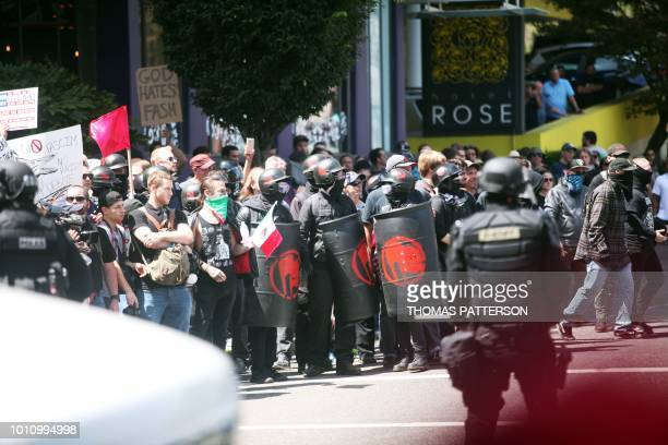 Altright activists antifascist protestors and people on all sides of the political spectrum gather for a campaign rally organized by rightwing...