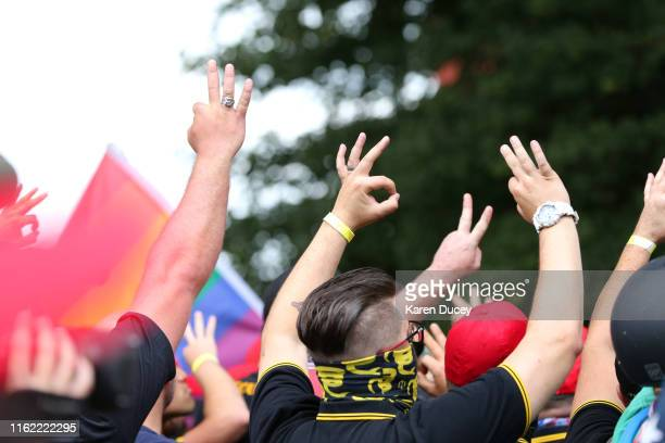 Altright demonstrators gesture with their hands during the End Domestic Terrorism rally on August 17 2019 in Portland Oregon Antifascism...