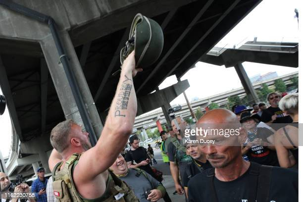 Alt-right groups including the Proud Boys hold the End Domestic Terrorism rally on August 17, 2019 in Portland, Oregon. Anti-fascism demonstrators...
