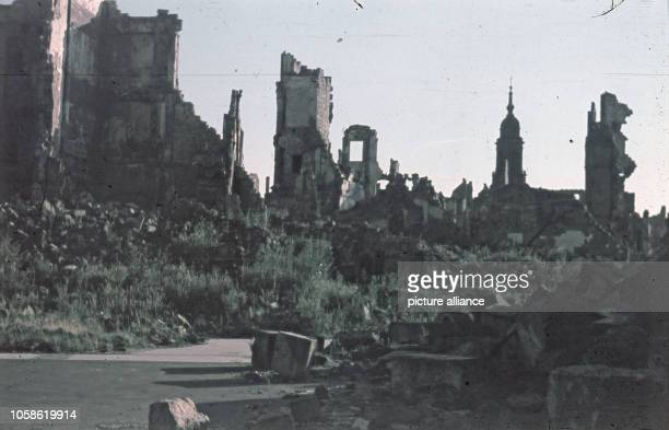 Altstadt of Dresden view over the destroyed innercity of Dresden The picture was taken after 1945 In the back is the tower of the Kreuzkirche at the...