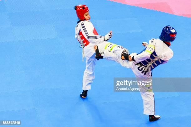 Altunel Durdane of Turkey and Laaraj Nada of Morocco compete in the Women's 57kg Taekwondo Semfinal during day five of the Baku 2017 4th Islamic...
