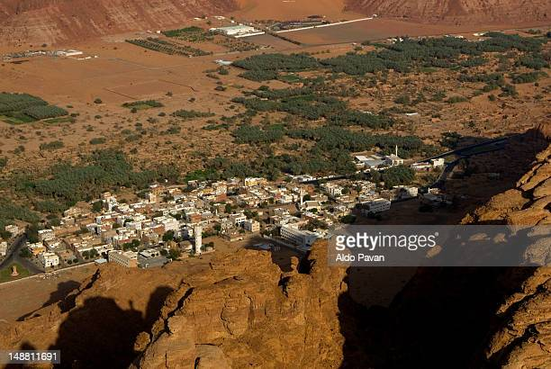 Al-Ula new town from surrounding clifftops.