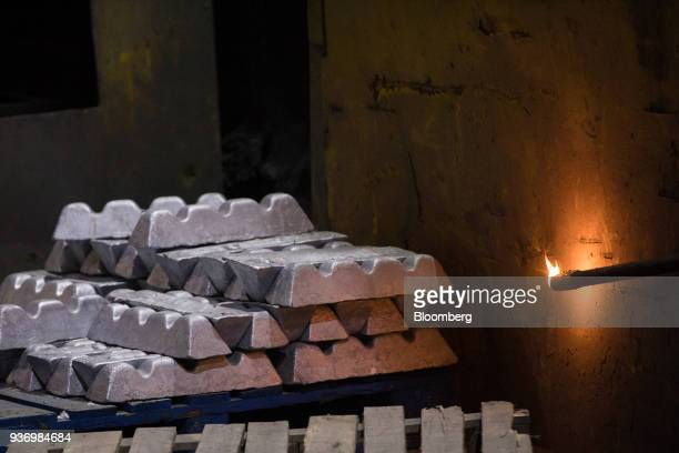 Aluminium additives sit next to the electric arc furnace at Liberty Steel's Aldewerke mill in Rotherham UK on Wednesday March 21 2018 Most metals...