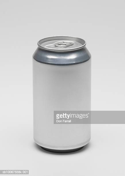 Aluminium can on white background, studio shot
