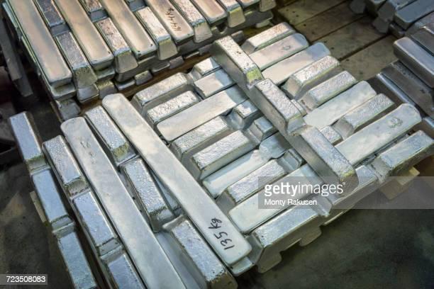 Aluminium ingots in precision casting factory