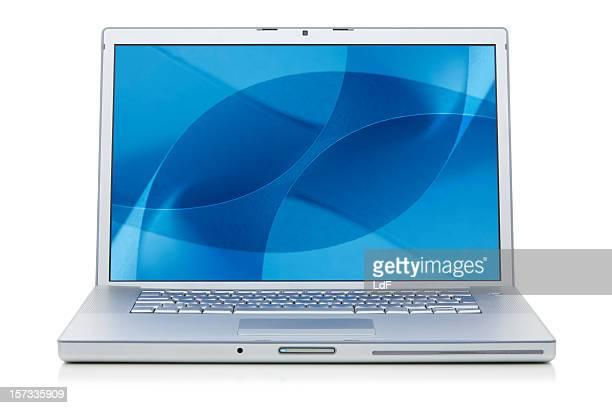 aluminium laptop with desktop - screen saver stock photos and pictures