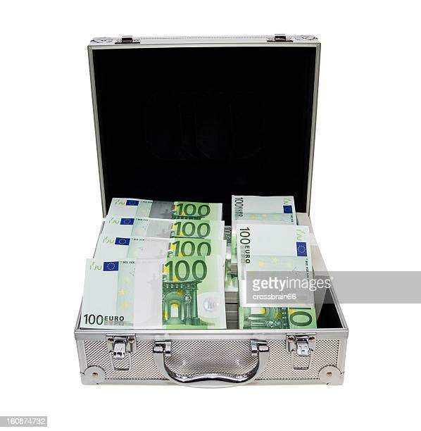 aluminium suitcase full of Euro notes bundles