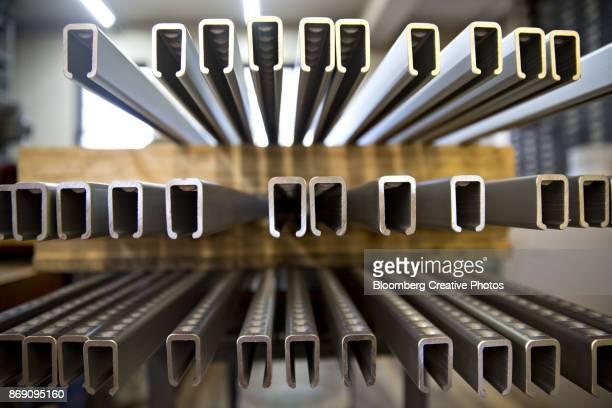 Aluminum bar clamps sit on a pallet