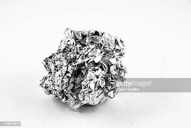 Aluminum foil on white