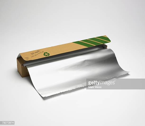 'Aluminum foil package with foil, close-up'