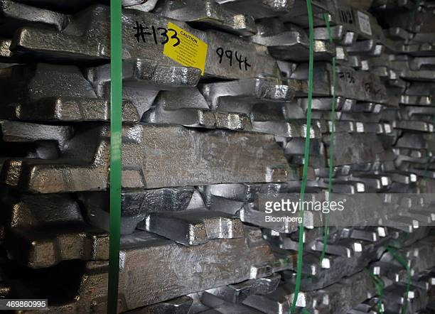 Aluminum ingots are stacked at the Akao Aluminum Co plant in Tokyo Japan on Monday Feb 17 2014 Global aluminum demand may exceed output by 390000...