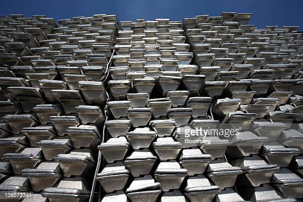 Aluminum ingots are stacked at the Public Procurement Service Incheon base warehouse in Incheon South Korea on Thursday Sept 22 2011 The PPS is a...