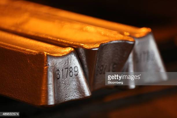 Aluminum ingots pass along the production line in the foundry at the Irkutsk aluminium smelting plant operated by United Co Rusal in Shelekhov Russia...