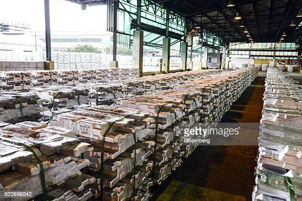 Aluminum ingots sit stacked inside the Aluminio Brasileiro SA aluminium plant in Barcarena Brazil on Tuesday April 12 2016 Albras which takes some of...