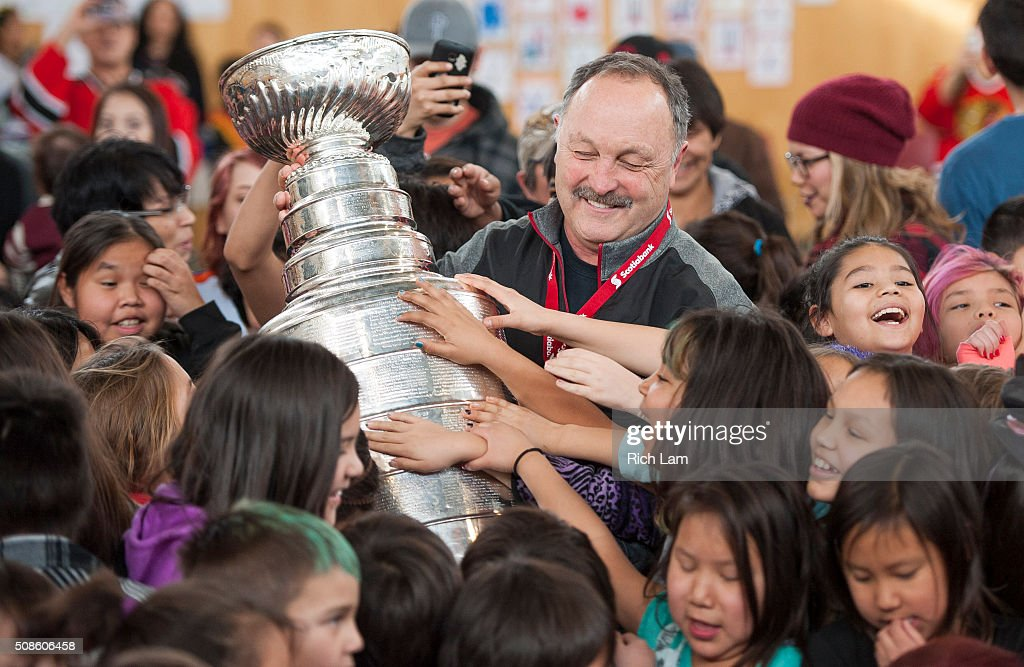 NHL Alumni Bryan Trottier brings the Stanley Cup to Sk'elep School of Excellence for a visit on Day 2 of 2016 Scotiabank Hockey Day in Canada on February 5, 2016 in Kamloops, British Columbia, Canada.