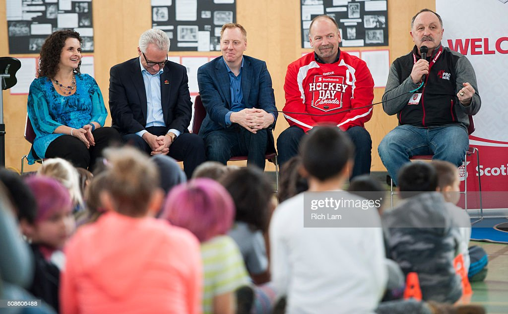 NHL Alumni Bryan Trottier speaks to the students of Sk'elep School of Excellence while fellow alumni Wendel Clark, Corey Hirsch, Tom Renney, CEO of Hockey Canada and principal Rosie Worsfold listen in on Day 2 of 2016 Scotiabank Hockey Day in Canada on February 5, 2016 in Kamloops, British Columbia, Canada.