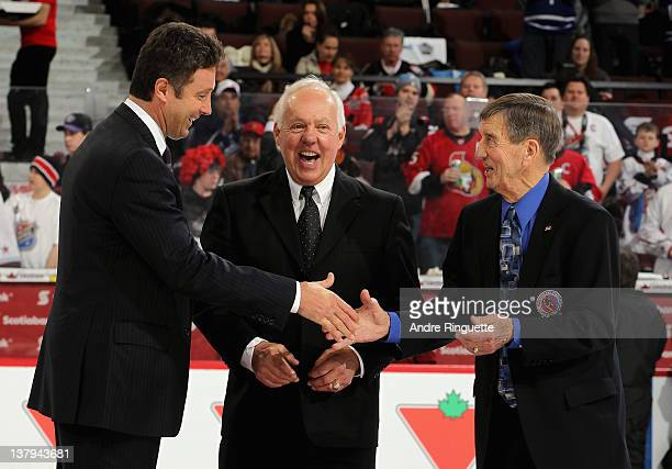 NHL Alumni Doug Wilson Yvan Cournoyer and Ted Lindsay during the first intermission at the 2012 Tim Hortons NHL AllStar Game at Scotiabank Place on...