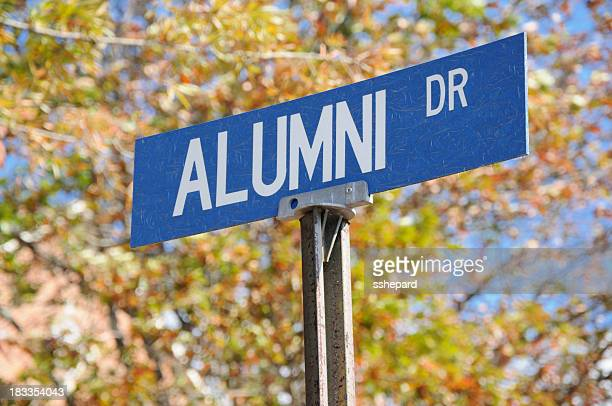 Alumni drive street sign close up