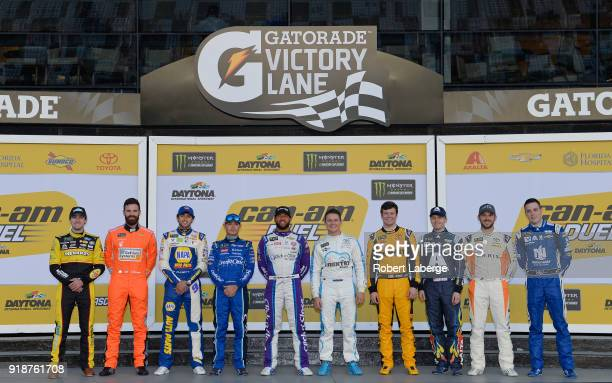 Alumni drivers Ryan Blaney driver of the Menards/Peak Ford Corey LaJoie driver of the Schluter Systems Chevrolet Chase Elliott driver of the NAPA...