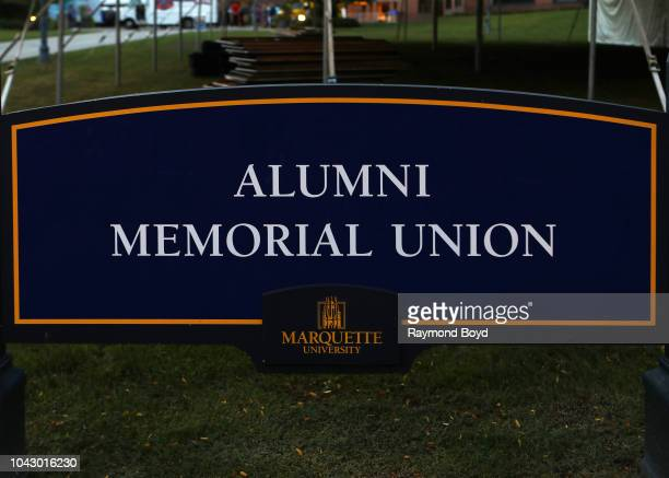 Alumni Memorial Union signage at Marquette University in Milwaukee, Wisconsin on September 14, 2018.
