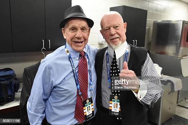 Alumni Tom McVie and Don Cherry of the Boston Bruins in the locker room before the alumni game on December 31 2015 during 2016 Bridgestone NHL Winter...